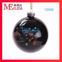 High quality shiny glass Christmas ball with customized logo for christmas hanging tree decoration