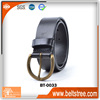 China new designer men 100% genuine leather belt with brass vintage pin buckle