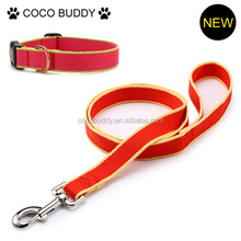 Orange color bamboo collar and leash with reflective strip pet dog products shop wholesale