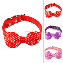 Wholesale Polka Dots Printed Bow Tie Leather Dog Collar