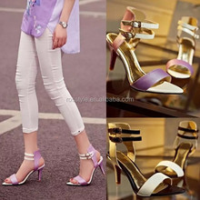 Woman Sandal High Heel Stiletto Shoe Lady Strappy Sandals Curvy Sheepskin Leather Footwear with Metal Safety-pin