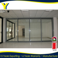 YY Manufacturer wholesale Australian standards aluminium glass double entry doors_Aluminium sliding doors