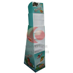 Retail recyclable 5 tiers pallet cardboard display stand, floor corrugated paper display showcase /fack