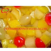 Conservas enlatadas cóctel de frutas en jarabe, alimentos enlatados
