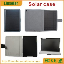 leather material portable 6000mAh case charger solar for ipad mini