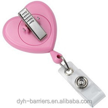 Wholesale heart shaped rotate Retractable ID card badge reel holder for nurse