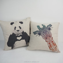 Wholesale panda giraffe printed fancy cushions pillow for car, custom design pillow cases