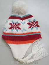 Winter Women's Warm Knit Beanie Hat Ski Pompom Earflp Hats