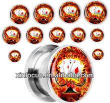 Steel Burning Poker Four Aces Screw Fit Plug body jewelry cheap ear gauge plugs