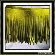"two side 6""suede leather fringe tassel for garment bag"