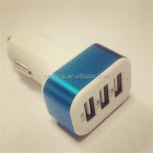 3 port usb car charger Aluminum cover 5v USB car charger whosale alibaba