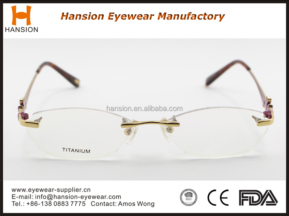 High Quality Titanium Rimless Optical Eyeglasses Frames ...