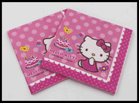 Food-grade Paper Napkin Hello Kitty Festive & Party Cat Tissue Napkin Cartoon Supply Party Decoration Paper 33cm*33cm