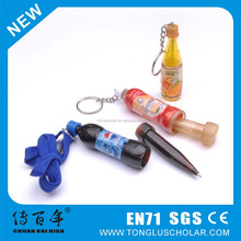 2015 new product drink bottle pen with keychain