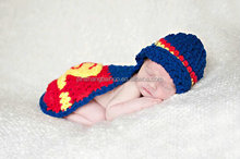 super man Design Knit Child Hat Crochet Knitting Beanie Newborn Props Knitted Hat