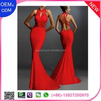 Latest Design Red Open Back Flowers Wedding Evening Dress