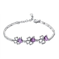 New Arrival Products Yiwu Stock Delicate Four-leaf Clover Classical Design Styles of Jewelry Flower Crystal Bracelet for Girls