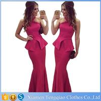 Women Rosy Halterneck Peplum Mermaid Ruffle New bodycon club dress 2015 evening dresses long maxi dresses long celebrity