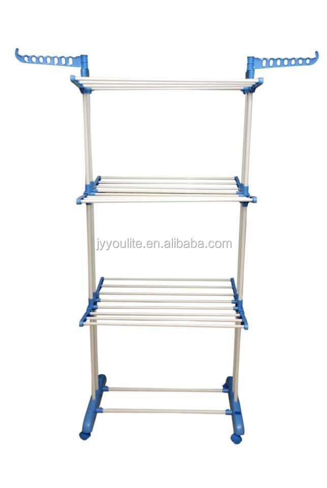 Stainless steel three layer clothes rack