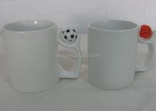 11oz customized ceramic funny mugs with mini football,basketball upon the handle