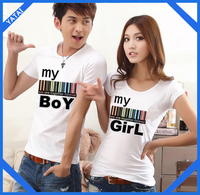 Custom and wholesale white color couple lover t shirt