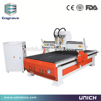 China good price aluminum pcb making machine two spindle two heads router cnc 1325/cnc router wood/cnc router machine