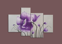 Origina design Purple flower in White Background 4 pcs group oil painting set