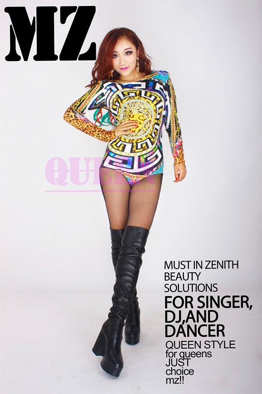 S-XXXL ! 2016 Women's brand new stage 2014 Dj female singer fashion multicolour one piece fork costume clothing PLUS SIZE coat