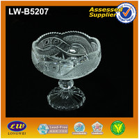 engraved sun deaign glass sugar bowl with stem
