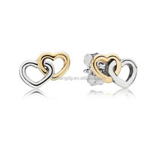New Design Two-Tone Heart to Heart Stud Earrings