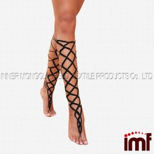 Black crochet Lace up Barefoot Sandal