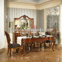 New Classical Dining Room Furniture - Dining Table / Dining Chairs / Buffet with Mirror, MOQ:1SET(B21411)