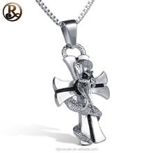Hot sale snake shaped stainless steel small cross jewelry pendant