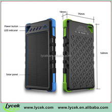 Solar energy Mobile Power Bank 8000mah lithium polymer battery 1.2W monocrystalline solar panel