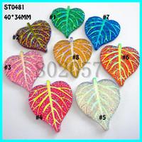 Sew on flatback resin rhinestones,Resin Leaf Cabochon