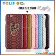New product 2015 Lion ring phone holder for iPhone 6,6plus,Crocodile pattern PU leather phone case with OPP bag