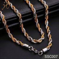 IP Design Twist Rope Men's Gold Chain Necklace