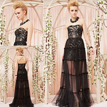 Coniefox Strapless Tulle Full Length Black Sexy Evening Dress