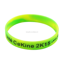 Apple green and yellow mix color custom silicone bracelet