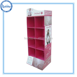 portable t-shirt floor display stand, cardboard corrugated cloth furniture