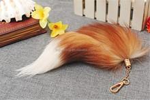 plush real fox fur fox tail metal keychain