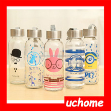 UCHOME 350ml 400ml sports cartoon water glass bottle or juice bottle with steel lid