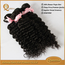 100 unprocessed human hair different length natural color silky straight virgin peruvian deep wave hair