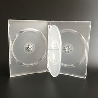 14mm 4 Disc Frosted Clear Plastic Long DVD Case With Tray