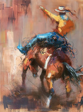 New Arrival Western Cowboy on Horse Back Handmade Oil Painting on Canvas for Wall Art Decoration