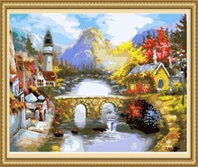 factory price landscape painting by numbers on canvas, painting & calligraphy