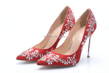 Ladies footwear online shopping popular design wedding dress shoes high heel red color