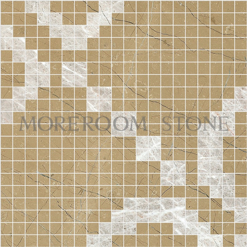 MPH02MG33 Moreroom Stone Turkish Golden Beige Marble Tiles White Marble Tiles Price Wall Mosaic Polished Marble Mosaic Tiles Home Marble Flooring Mosaic Bathroom Design Mosaic Medallion Inlay Marble Tiles.jpg