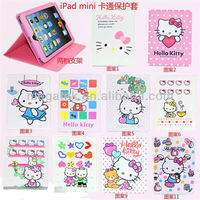 Tablet case hello kitty stand leather sleeve case for ipad mini, for ipad case sleeve ,for ipad mini case cover