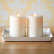 """Best Selling Products Moving Flame Flat Top Flameless 5"""" Pillar Led Candle with Timer, Set of 2"""